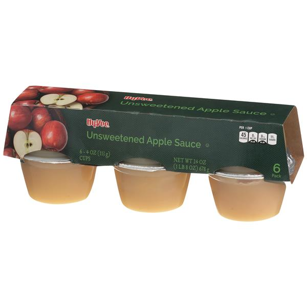 Hy-Vee Natural Style Apple Sauce 6-4 oz Cups