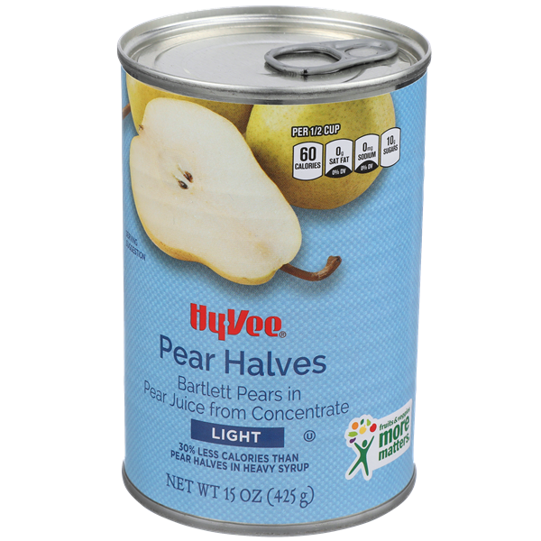 Hy-Vee Light Bartlett Pear Halves In Pear Juice From Concentrate