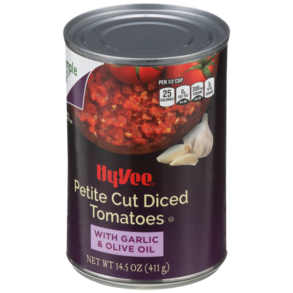 Hy-Vee Petite Diced Tomatoes with Garlic & Olive Oil