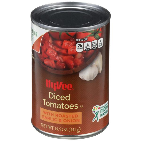 Hy-Vee Diced Tomatoes with Roasted Garlic & Onion