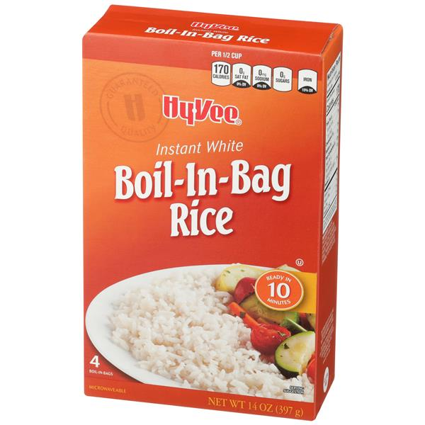 Hy-Vee Instant White Boil-in-Bag Rice 4Ct