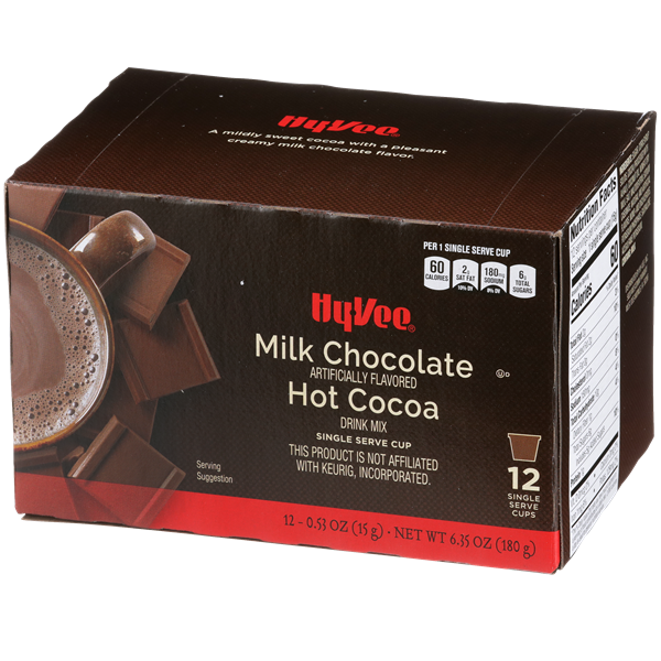 Hy-Vee Milk Chocolate Flavor Hot Cocoa Single Serve Cups 12-.53 oz ea.