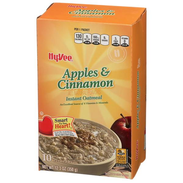 Hy-Vee Apples & Cinnamon Instant Oatmeal 10-1.23 oz Packets