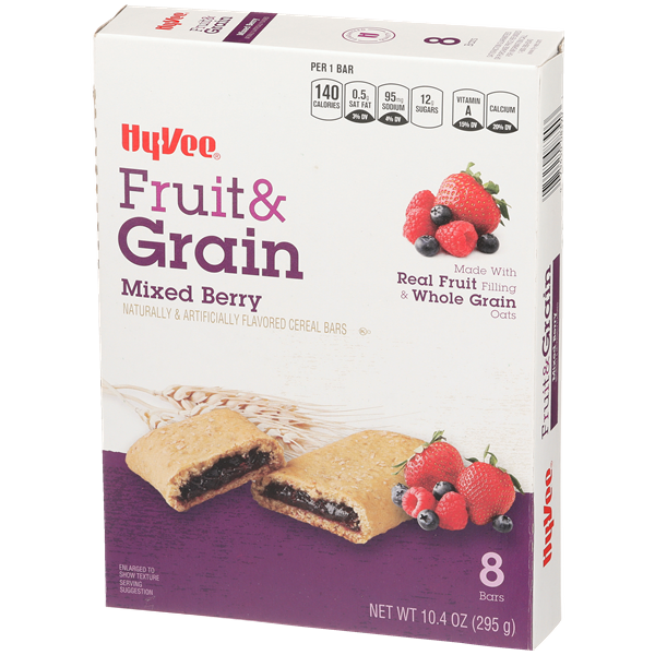 Hy-Vee Fruit & Grain Mixed Berry Cereal Bars 8Ct
