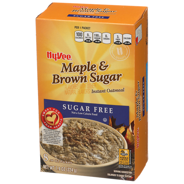 Hy-Vee Sugar Free Maple & Brown Sugar Instant Oatmeal 8-0.98 oz Packets