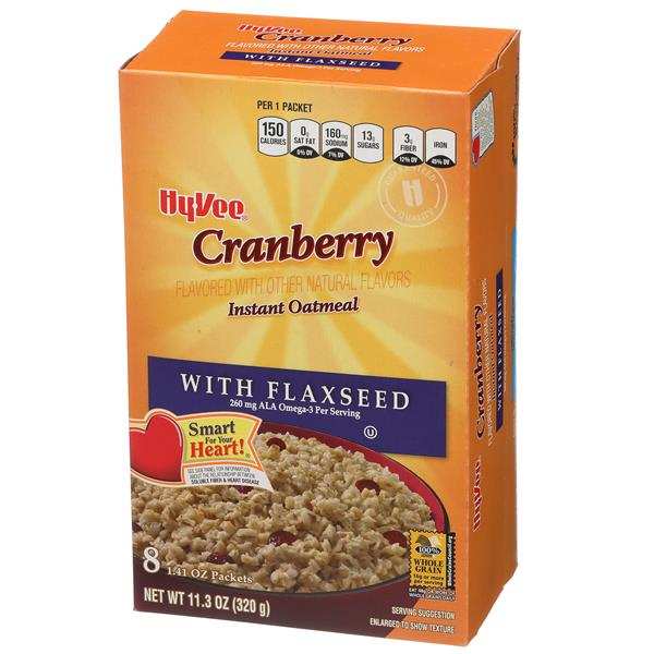 Hy-Vee Instant Oatmeal Cranberry with Flaxseed 8-1.41 oz Packets