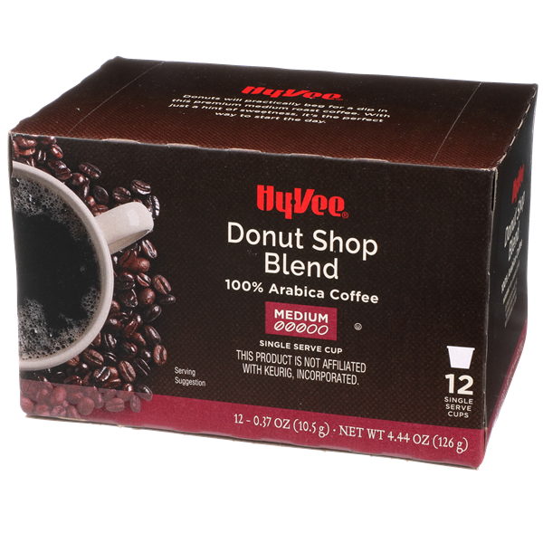 Hy-Vee Donut Shop Blend Single Cup Coffee 12-0.37 oz ea.