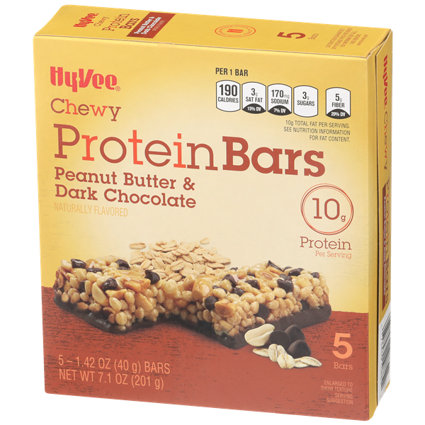 Hy-Vee Chewy Protein Bars Peanut Butter & Dark Chocolate 5-1.42 oz Bars
