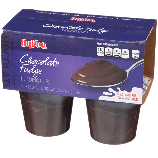 Hy-Vee Chocolate Fudge Pudding 4-3.25 oz Cups