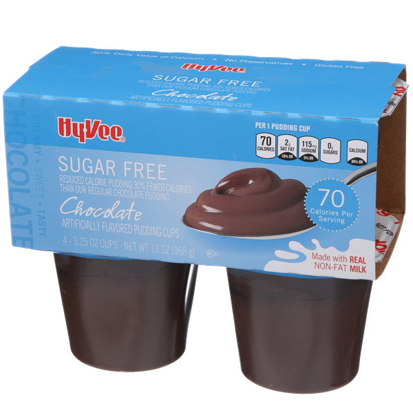 Hy-Vee Sugar Free Chocolate Pudding 4-3.25 oz Cups