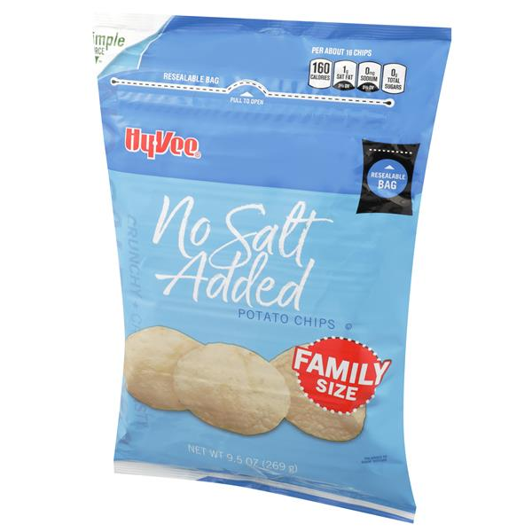 Hy-Vee No Salt Added Potato Chips Family Size