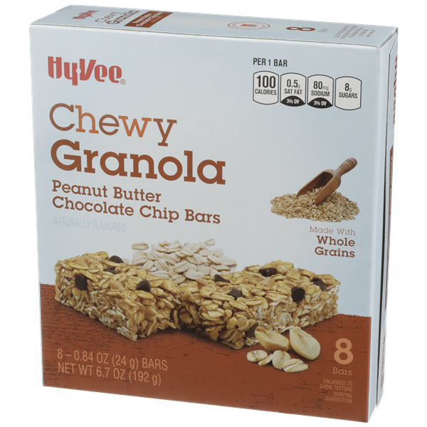 Hy-Vee Chewy Granola Peanut Butter Chocolate Chip Bars 8-0.84 oz Bars