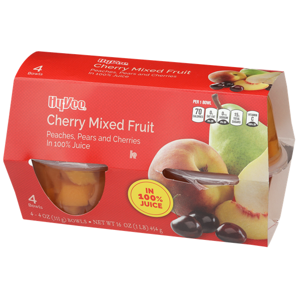 Hy-Vee Cherry Mixed Fruit Peaches, Pears & Cherries in 100% Juice 4-4 oz Bowls