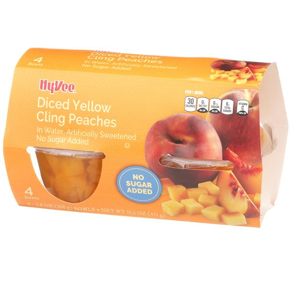 Hy-Vee No Sugar Added Diced Yellow Cling Peaches 4 - 3.8 oz Bowls